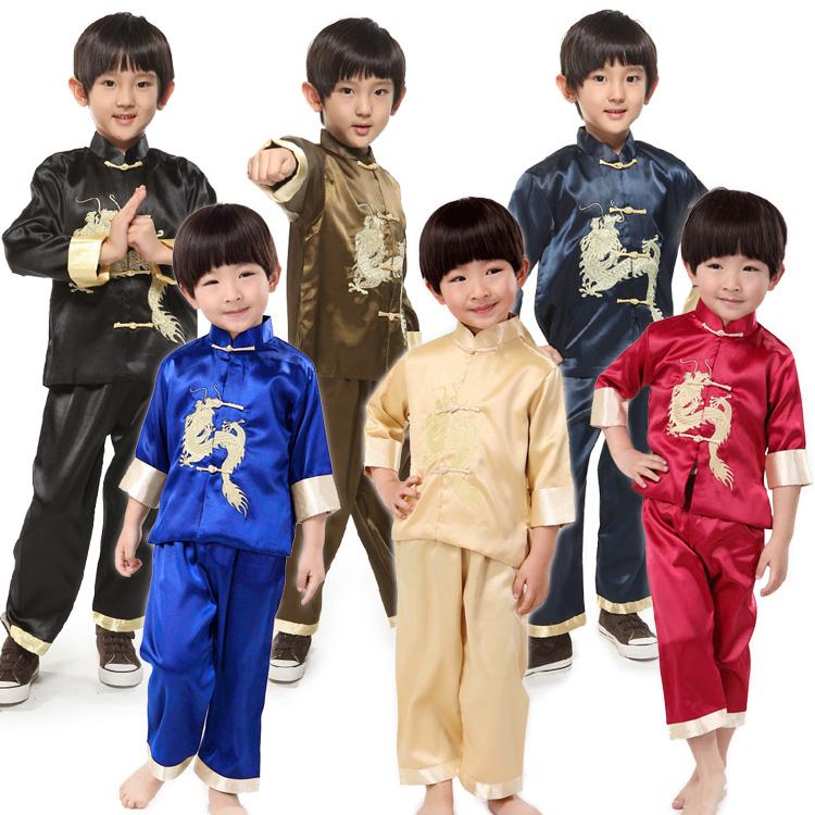 子供用龍刺繍中国服(長袖・七分袖・上下セット)